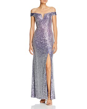 AQUA - Off-the-Shoulder Sequin Gown - 100% Exclusive