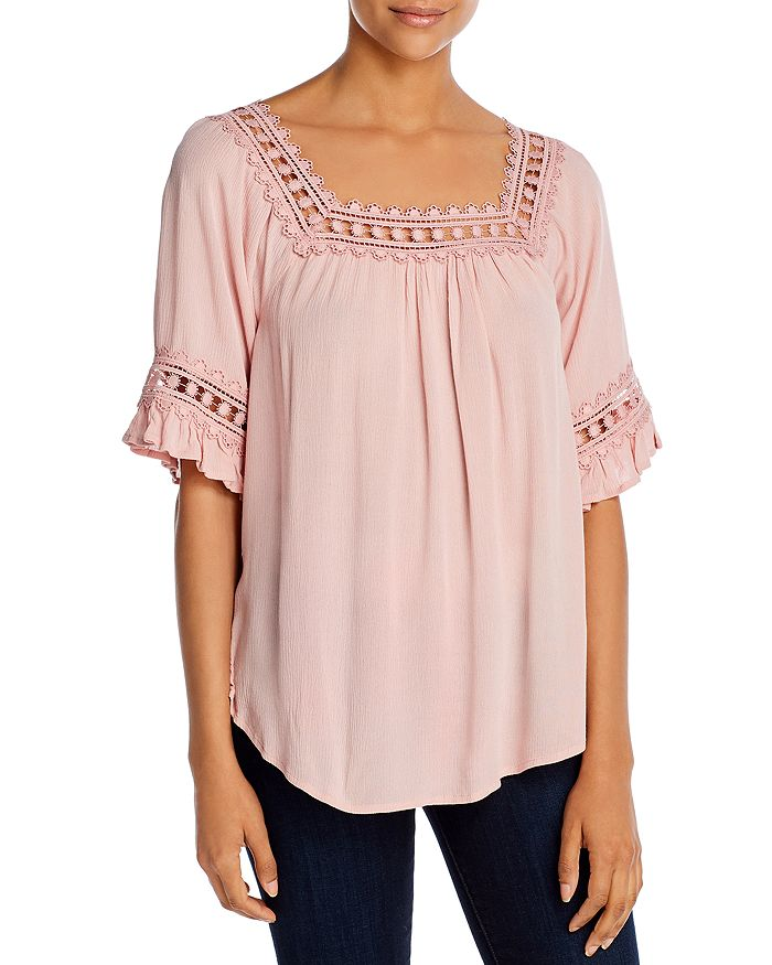 Alison Andrews Crochet Trim Top In Silver Pink