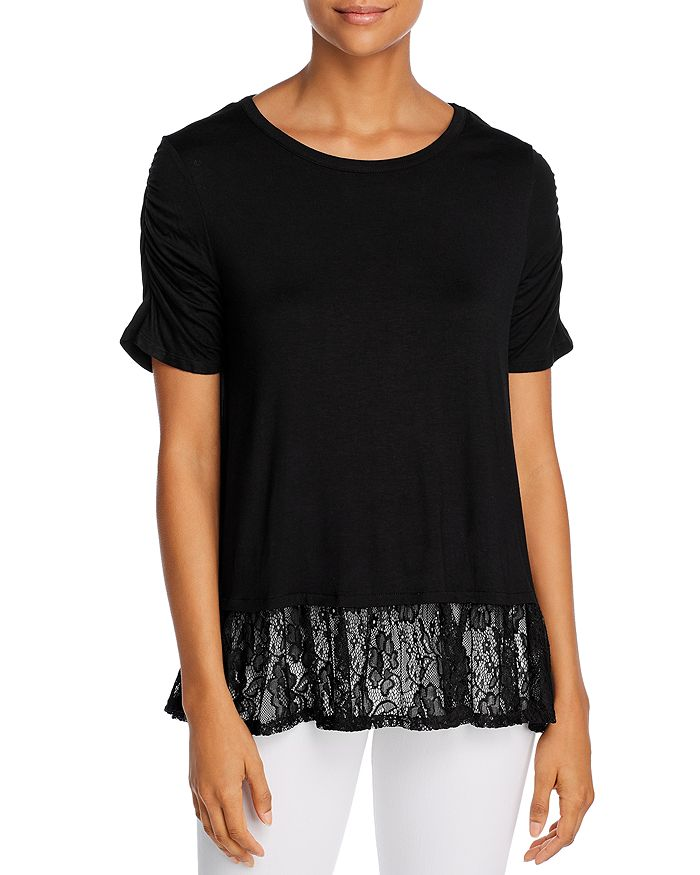 Alison Andrews Lace Hem Top In Black Vinyl