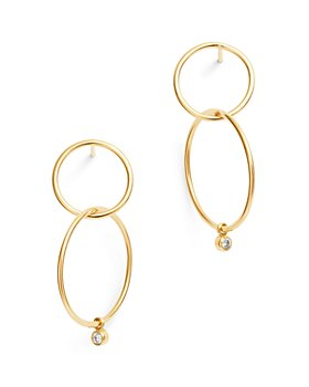 Zoë Chicco - 14k Gold Diamond Double Circle Drop Earrings