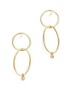 Zoe Chicco 14k Gold Diamond Double Circle Drop Earrings