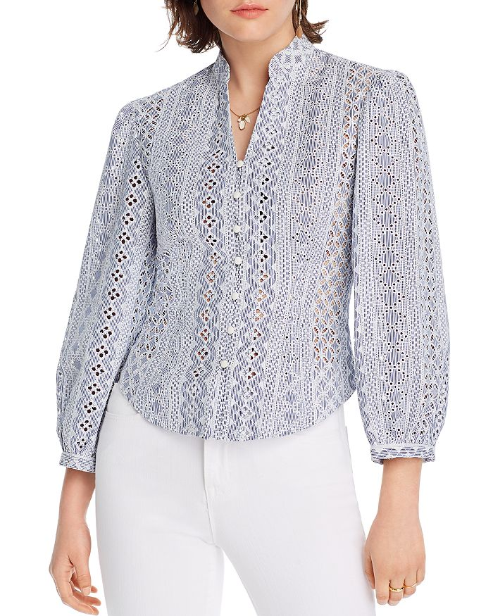 Lini Daisy Striped Embroidered Blouse - 100% Exclusive In Blue Stripe