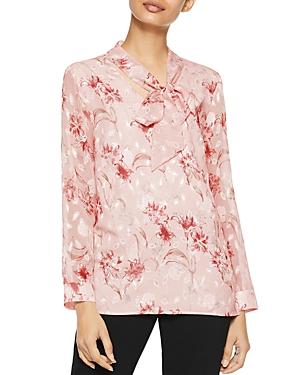Misook Tie-Neck Floral Blouse
