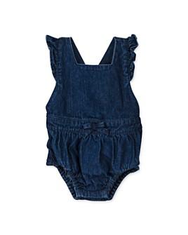 Oliver & Rain - Girls' Cotton Denim Ruffle Romper - Baby