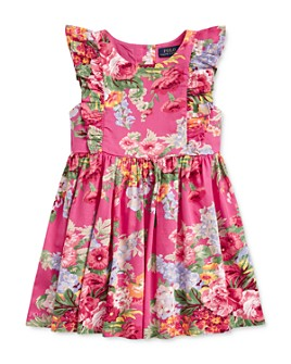 Ralph Lauren - Girls' Cotton Floral Ruffled Dress - Little Kid