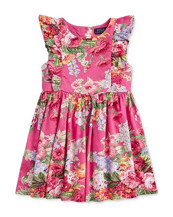 Ralph Lauren - Girls' Cotton Floral Ruffled Dress - Little Kid