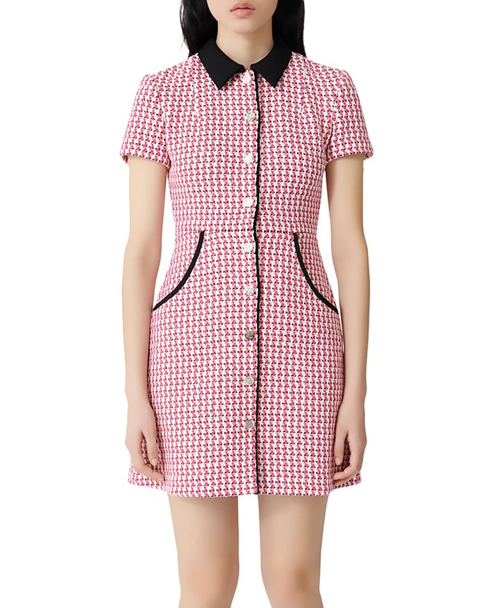 Maje - Houndstooth Tweed Button-Front Mini Dress