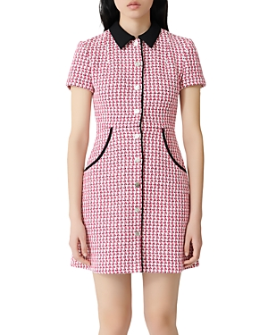 Maje Houndstooth Tweed Button-Front Mini Dress