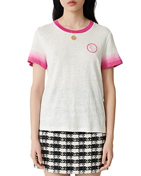 Maje - Embroidered-Logo Ombre Linen T-Shirt