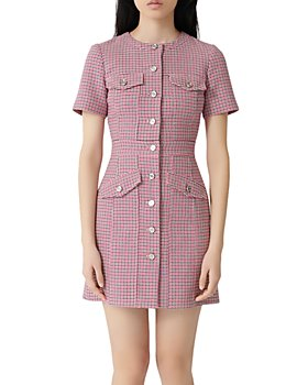 Maje - Plaid Button-Front Mini Dress