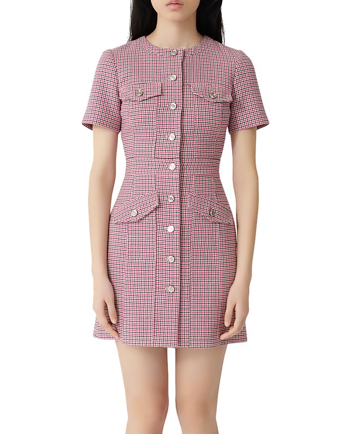 Maje - Plaid Button-Front Mini Dress