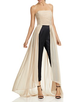 HALSTON - Strapless Ruched Dramatic Pleated Jumpsuit