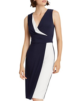 Ralph Lauren - Two-Tone Crossover V-Neck Dress