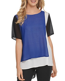 DKNY - Color-Block Overlay Top