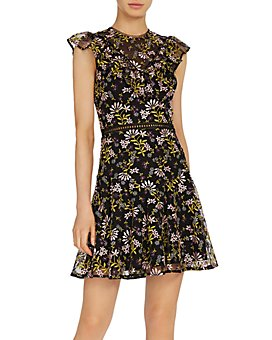 ML Monique Lhuillier - Embroidered Fit-and-Flare Dress