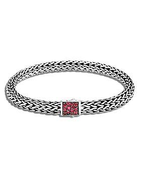 JOHN HARDY - Sterling Silver Classic Chain Black Sapphire & African Ruby Reversible Bracelet