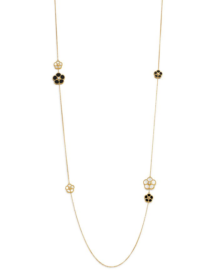 Roberto Coin - 18K Yellow Gold Black Onyx, Mother-Of-Pearl & Diamond Flower Strand Necklace - 100% Exclusive