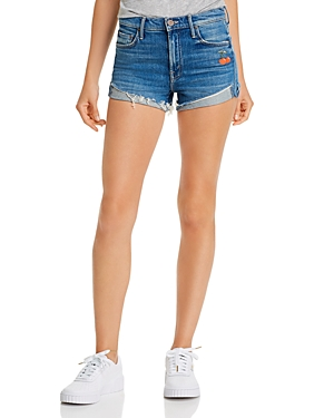 Mother The Rascal Embroidered Cherry Denim Shorts in Gold Rush-Women
