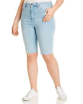 Good American - Frayed Denim Bermuda Shorts in Blue413