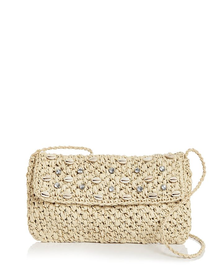Aqua Embellished Woven Crossbody Clutch - 100% Exclusive In Natural/silver