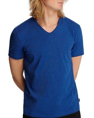 £125.00 JOHN VARVATOS White Linen V-Neck T-Shirt TShirt RRP