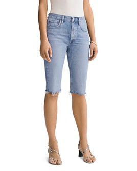 AGOLDE - Carrie Cotton Frayed Denim Bermuda Shorts in Forfeit