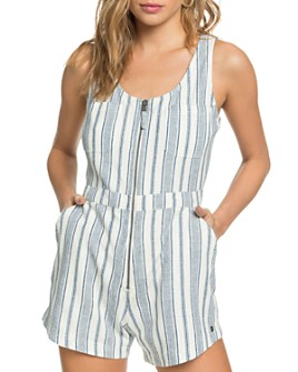 Roxy - Roll Up Your Sleeve Striped Romper