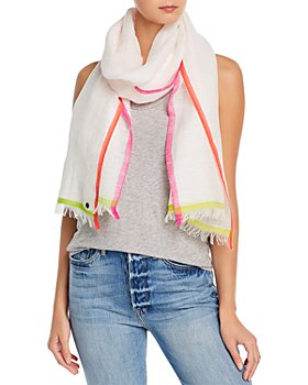 Fraas - Bright Border Cotton, Linen & Wool Scarf