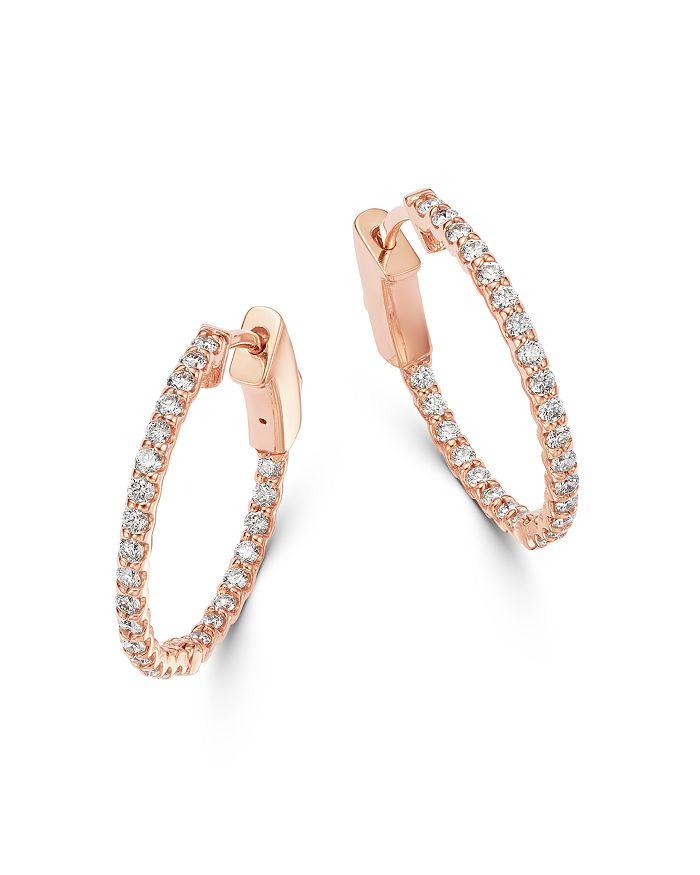Bloomingdale's - Diamond Inside Out Hoop Earrings in 14K Rose Gold - 100% Exclusive