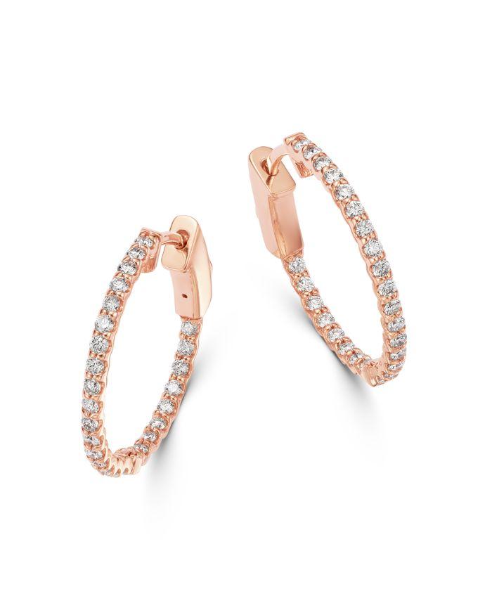 Bloomingdale's Diamond Inside Out Hoop Earrings in 14K Rose Gold - 100% Exclusive    Bloomingdale's