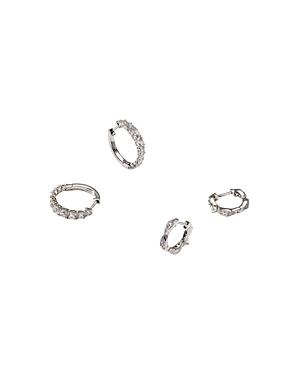 Nadri Silver-Tone Cubic Zirconia Huggie Hoop Earrings Set, Set of 2