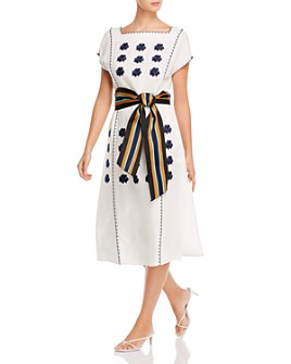Tory Burch - Floral-Embroidered Striped-Belt Midi Dress