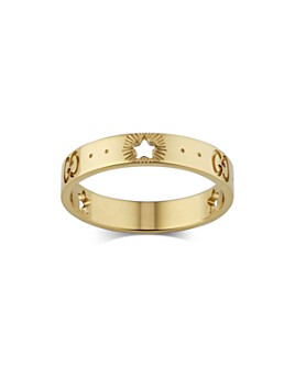 Gucci - 18K Yellow Gold Logo & Star Ring