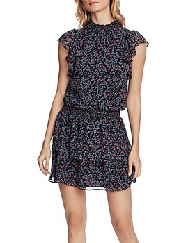 1.STATE - Printed Smock-Neck Dress
