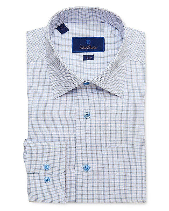 David Donahue - Cotton Tattersall Check Trim Fit Dress Shirt