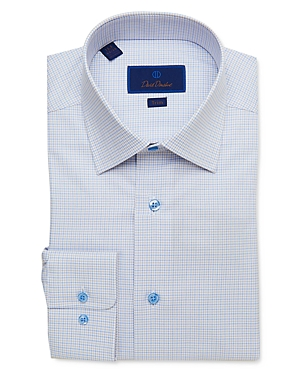David Donahue Cotton Tattersall Check Trim Fit Dress Shirt