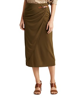 Ralph Lauren - Buckled Faux-Wrap Midi Skirt