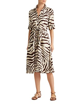 Ralph Lauren - Animal Print Tie-Front Shirt Dress