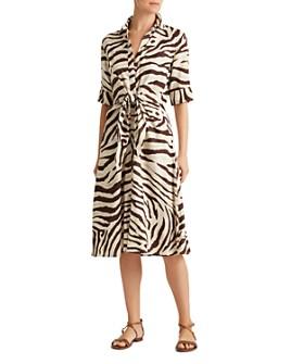 Ralph Lauren - Animal Print Tie-Front Shirt Dress