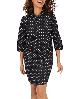 Foxcroft Darien Polka-Dot Shirtdress
