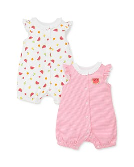 Little Me - Girls' Cotton Fruit Rompers, 2 Pack - Baby