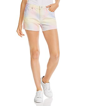AQUA - Tie-Dyed Cutoff Denim Shorts in Pastel Multi - 100% Exclusive