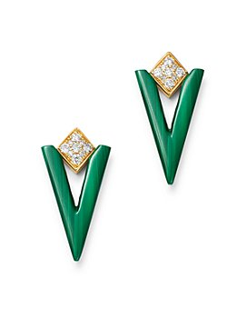 Bloomingdale's - Malachite & Diamond Triangle Drop Earrings in 14K Yellow Gold - 100% Exclusive