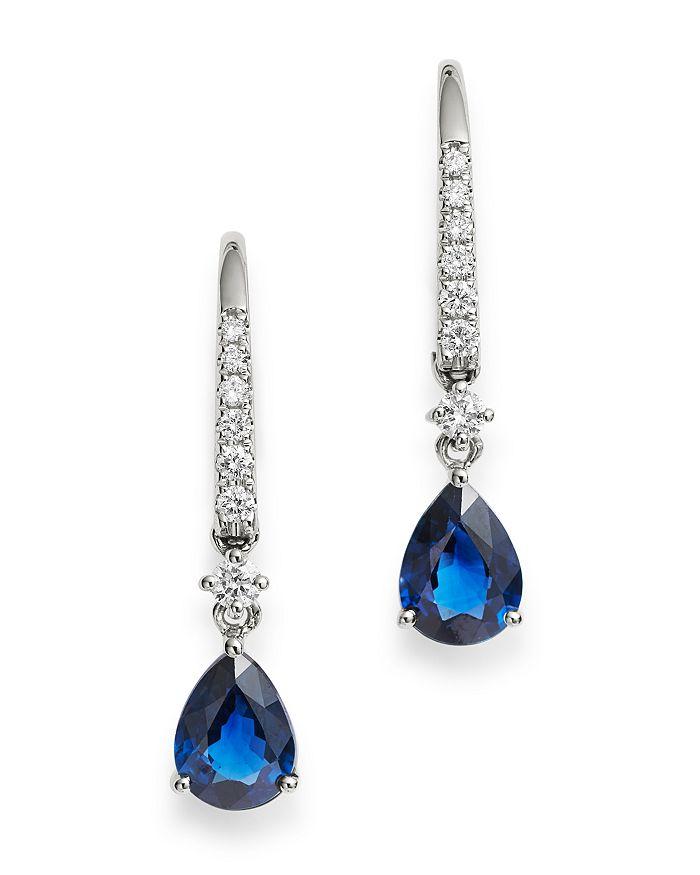 Bloomingdale's - Blue Sapphire & Diamond Drop Earrings in 14K White Gold - 100% Exclusive