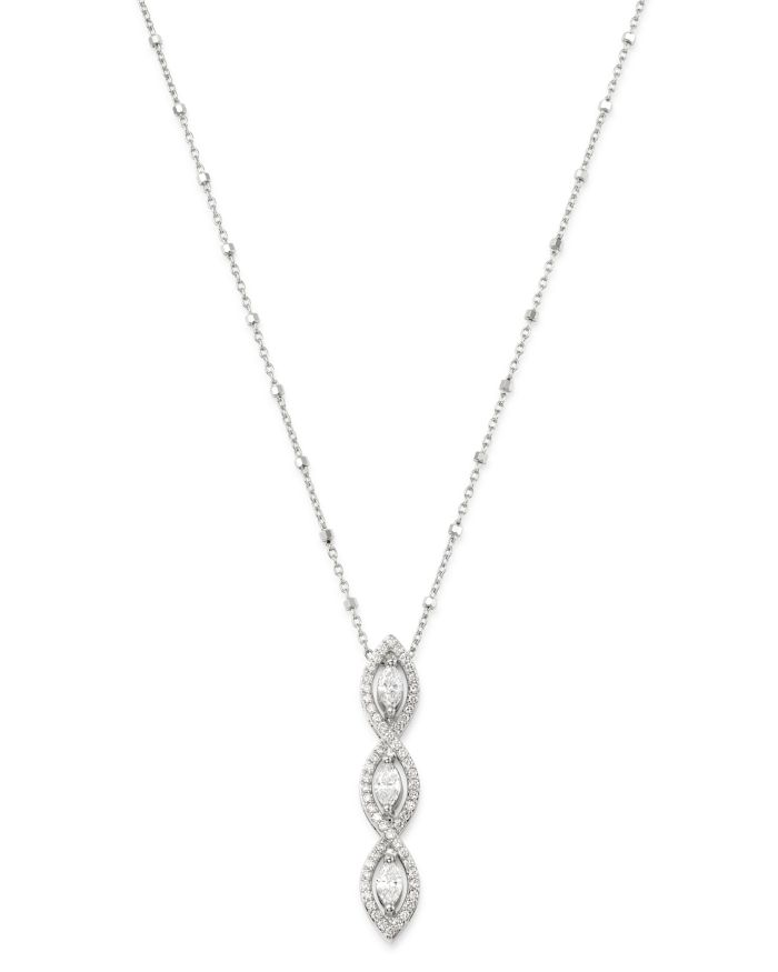 """Bloomingdale's Diamond Marquise Pendant Necklace in 14K White Gold, 16-18"""" - 100% Exclusive  