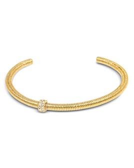 ALLSAINTS - Gold-Tone Pavé Bolt Textured Cuff Bracelet