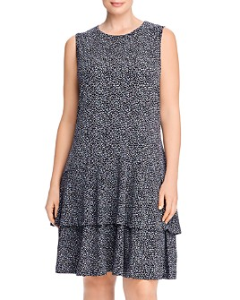 MICHAEL Michael Kors Plus - Printed Tiered-Hem Dress