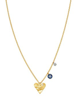 Meira T - 14K White & Yellow Gold Diamond & Sapphire Heart & Evil Eye Charm Necklace, 16-18""