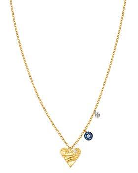 "Meira T - 14K White & Yellow Gold Diamond & Sapphire Heart & Evil Eye Charm Necklace, 16-18"""