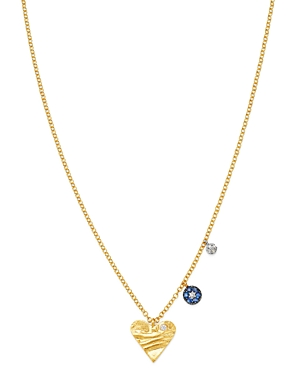Meria T 14K White & Yellow Gold Diamond & Sapphire Heart & Evil Eye Charm Necklace, 16-18-Jewelry & Accessories
